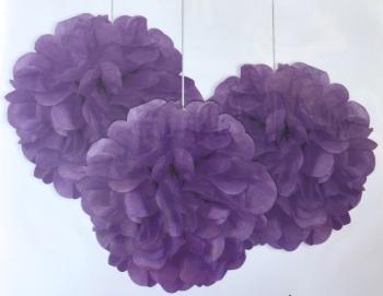 Purple Pom Poms - 3