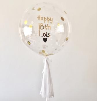 Confetti Bubble Balloon - Gold & White