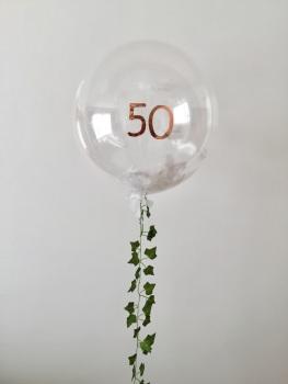 Feather Bubble Balloon - White