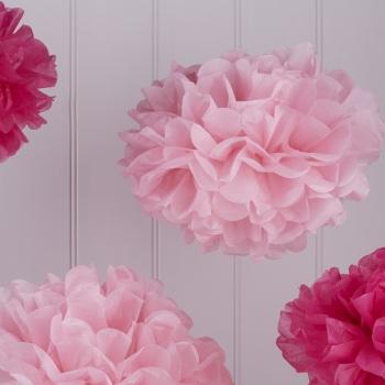 Two Tone Pink Pom Poms - 5