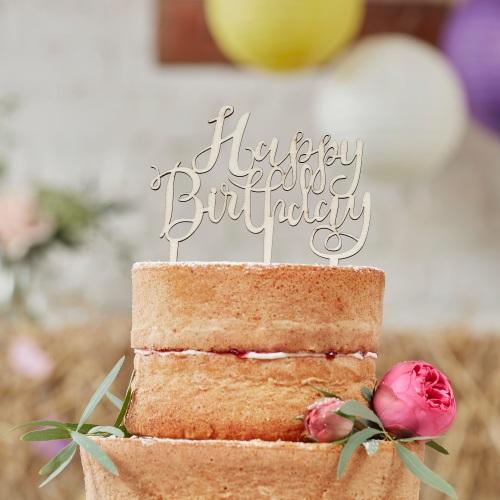 Happy Birthday wooden cake topper | CeFfi