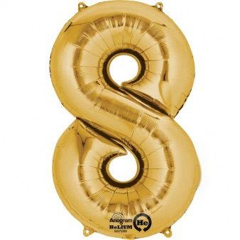Gold Giant Number 8 Balloon