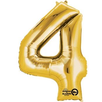 Gold Giant Number 4 Balloon