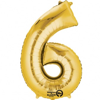 Gold Giant Number 6 Balloon