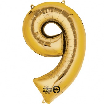 Gold Giant Number 9 Balloon