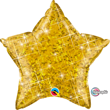Holographic Gold Star Balloon