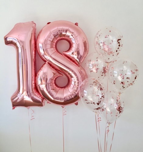 Rose gold number balloons, rose gold confetti balloons | CeFfi