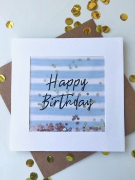 Blue and White Stripe - Happy Birthday - Card