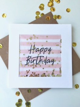 Pink and White Stripe - Happy Birthday - Card