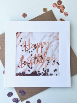 Rose Gold Marble - Happy Birthday - Card