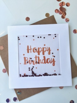 Rose Gold Dot - Happy Birthday - Card