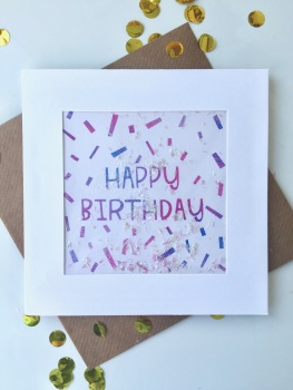 Pink/Purple Ombre Confetti - Happy Birthday - Card