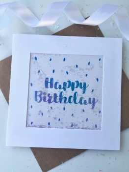 Blue Ombre Speckled - Happy Birthday - Card