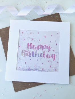 Pink Ombre Speckled - Happy Birthday - Card