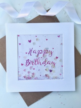 Pink Ombre Hearts - Happy Birthday - Card