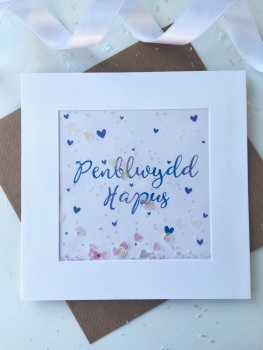 Blue Ombre Hearts - Penblwydd Hapus - Card