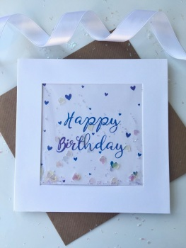 Blue Ombre Hearts - Happy Birthday - Card