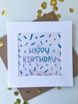Blue Ombre Confetti - Happy Birthday - Card