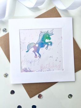Rainbow Unicorn - Happy Birthday - Card