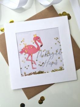 Flamingo (Gold) - Penblwydd Hapus - Card