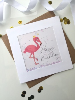 Flamingo (Iridescent) - Happy Birthday - Card