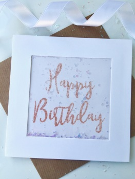 Rose Gold Glitter - Happy Birthday - Card