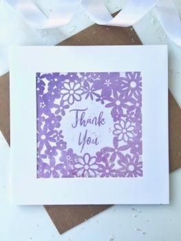 Watercolour Floral - Thank You - Card