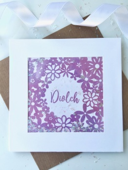 Watercolour Floral - Diolch - Card