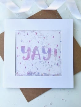 Pink Ombre Speckled - Yay! - Card