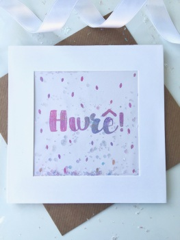 Pink Ombre Speckled - Hwre! - Card