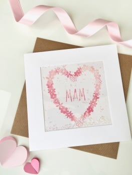 Pink Watercolour Floral Heart - Mam - Card