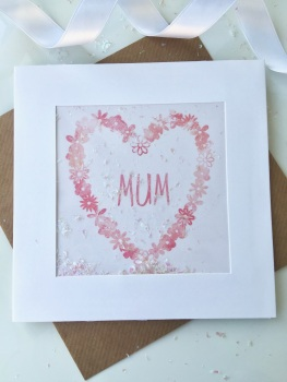 Pink Watercolour Floral Heart - Mum - Card