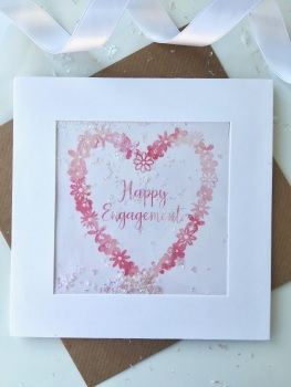 Pink Watercolour Floral Heart - Happy Engagement - Card