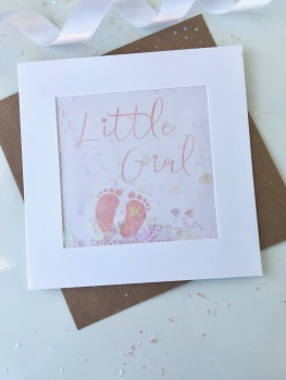 Pink Little Feet - Little Girl - Card