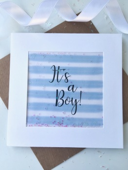 Blue and White Stripe - It's a Boy! - Card
