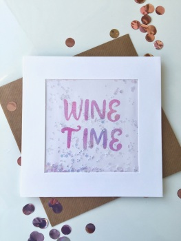Pink Ombre - Wine Time - Card