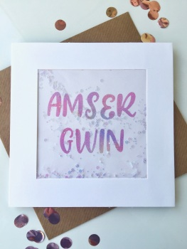 Pink Ombre - Amser Gwin - Card
