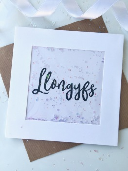 Pink Speckled - Llongyfs - Card