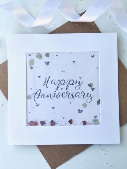 Silver Glitter - Happy Anniversary - Card