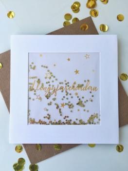 Gold Starry - Llongyfarchiadau - Card