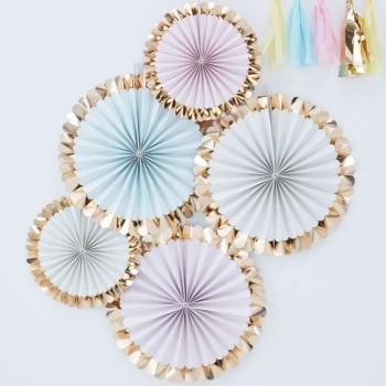 Fan Decorations - Pastel & Gold