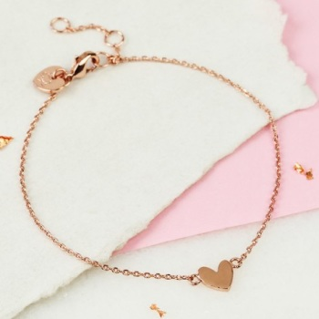Cute Heart Chain Bracelet - Rose Gold