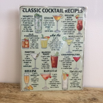 Classic Cocktails - Metal Sign