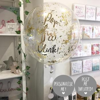Confetti Bubble Balloon - Gold Sparkle