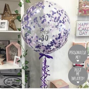 Confetti Bubble Balloon - Two Tone Purple
