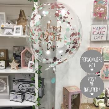 Confetti Bubble Balloon - Rose Gold, Mint & White