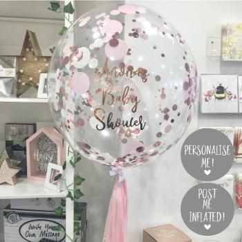 Confetti Bubble Balloon - Rose Gold, Pink & White