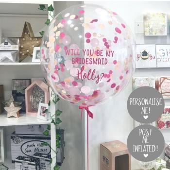 Confetti Bubble Balloon - Flamingo Pink