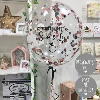 Confetti Bubble Balloon - White, Black and Rose Gold