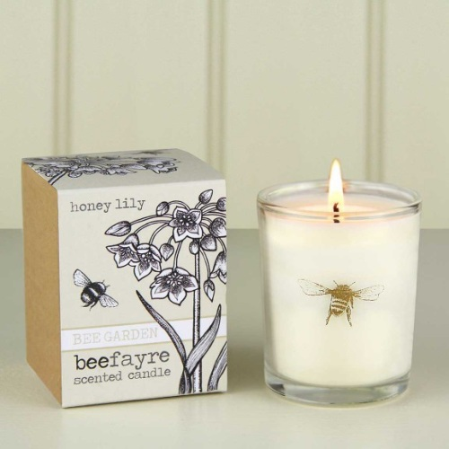Honey lily candle, bee candle, bee conservation, beefayre, gift shop in rut